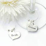 Contempoarary Bride and Groom Wine Glass Charms
