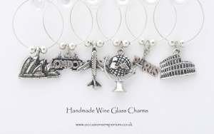 Travel the World Wine Glass Charms - with Gift Bag and Label