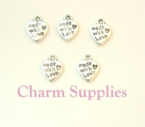 Made With Love Heart Charm - Silver Plated - qty 10