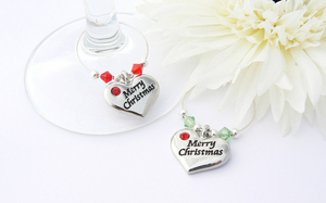 Merry Christmas Wine Charms - set of 2