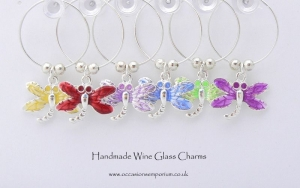 Enamel Dragonfly Wine Glass Charms - with Gift Bag and Label