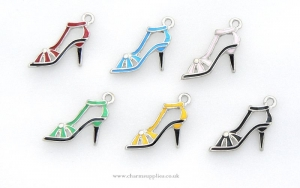 Sandal Charms - Enamel and Silver Plated - Set of 6 - Shoes