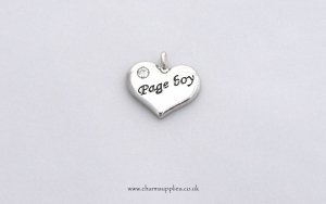 Wedding Heart Charm - Silver Plated and Crystal - Page Boy
