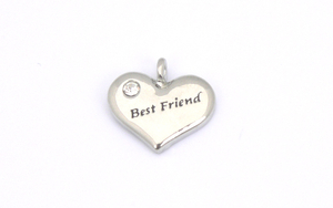 Best Friend Charm - Silver Plated Heart