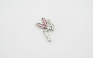 Fairy Charm - Silver Plated and Pink Enamel - Pink Tinkerbell