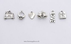 Wedding Theme Charms - Silver Plated - Bells - Ring - Car -Album