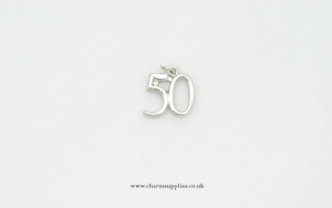 Number 50 Charm - Silver Plated - 50th Birthday - Anniversary