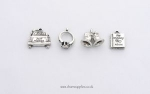 Wedding Theme Charms - 4 - Silver Plated - Bells Ring Car Album