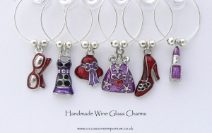 Girlie Wine Glass Charms - with Gift Bag and Label