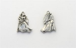Dancing Bride and Groom Charm - Silver Plated