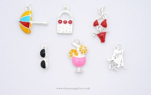 Beach Holiday Charms - Enamel and Silver Plated - Set of 6