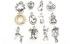 12 Days of Christmas Charms - Silver Plated