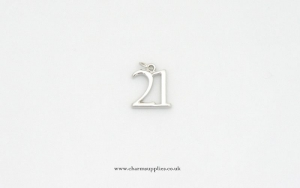 Number 21 Charm - Silver Plated -  21st Birthday