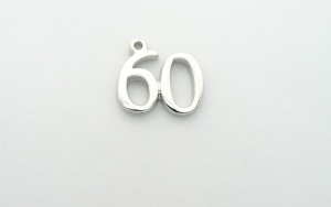 Number 60 Charm - Silver Plated - 60th Birthday - Anniversary