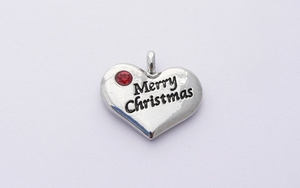 Merry Christmas Heart Charm - Red Crystal