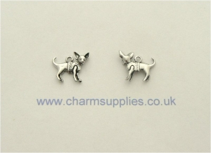 Chihuahua Dog Charm - Silver Plated