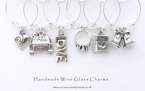 Wedding Day Wine Glass Charms - Silver - with Gift Bag and Label