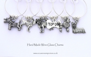 Dog Breeds Wine Glass Charms - Yorkie, Westie, Pug and Poodle