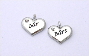 Wedding Heart Charms - Silver Plated and Crystal - Mr and Mrs