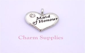 Wedding Heart Charm - Silver Plated and Crystal - Maid of Honour
