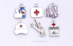 Medical Charms - Enamel and Silver Plated - Set of 6 - Nurse