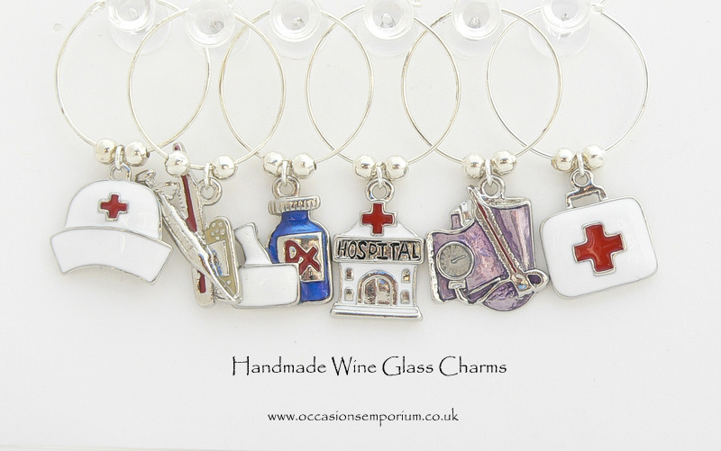 Medical Wine Glass Charms - with Gift Bag and Label
