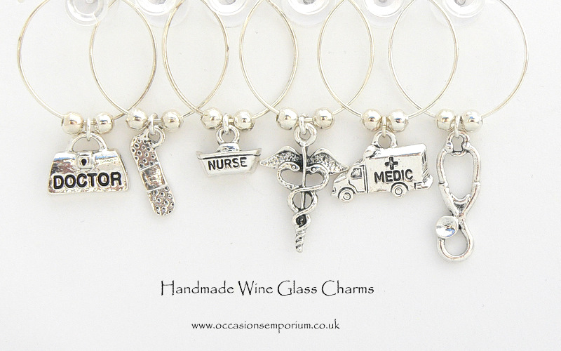 Medical Wine Glass Charms - Silver plated