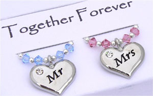 mr and mrs charms gift set of two