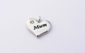Mum Charm - Silver Plated and Crystal - Wedding Heart Charm