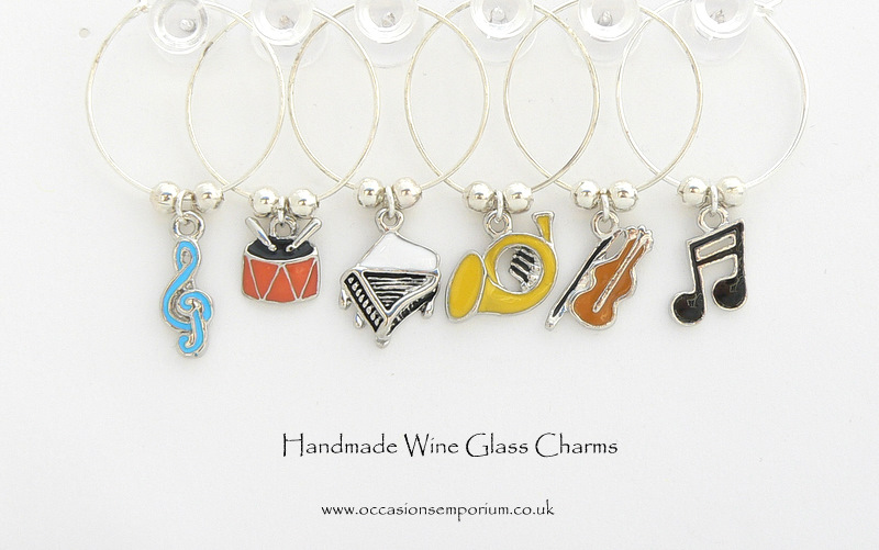 Music Wine Glass Charms - with Gift Bag and Label