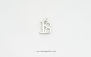 Number 18 Charm - Silver Plated - 18th Birthday