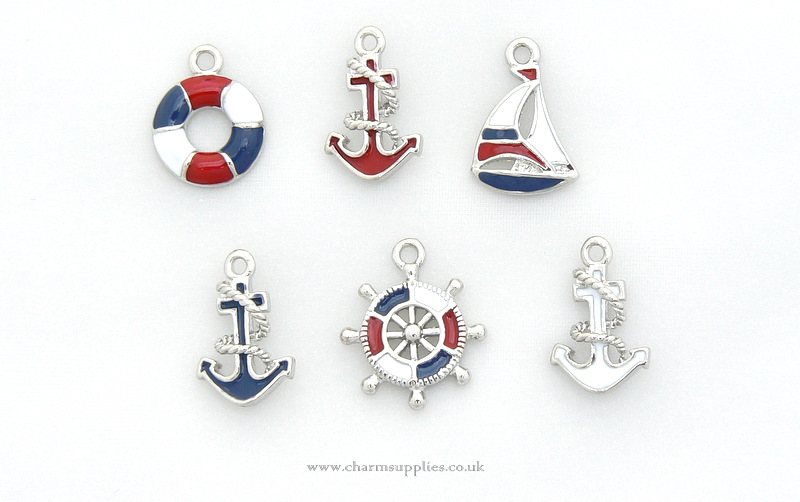 Sailing Charms - Enamel and Silver Plated - Set of 6 - Nautical