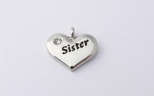 Sister Charm - Silver Plated and Crystal - Wedding Heart Charm
