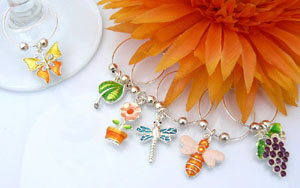 Summer Garden Party Wine Glass Charms