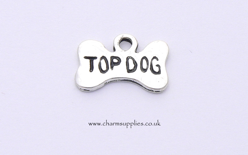 Top Dog Bone Charm - Silver Plated