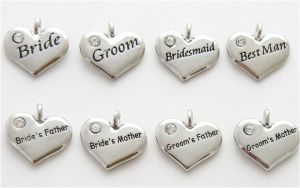Wedding Heart Charms - Silver Plated and Crystal - Set of 8