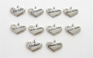100 x SALE Wedding Heart Charms - Silver Plated and Crystal