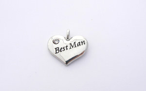 Wedding Heart Charm - Silver Plated and Crystal - Best Man