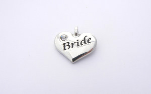 Wedding Heart Charm - Silver Plated and Crystal - Bride