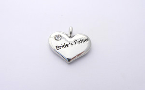 Wedding Heart Charm - Silver Plated and Crystal - Brides Father