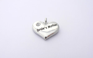 Wedding Heart Charm - Silver Plated and Crystal - Brides Mother