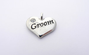 Wedding Heart Charm - Silver Plated and Crystal - Groom