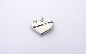 Wedding Heart Charm - Silver Plated and Crystal - Grooms Mother